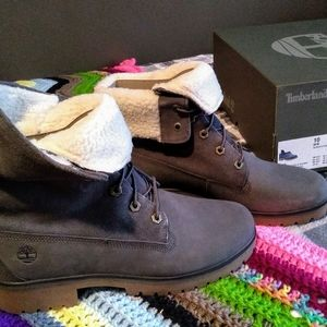 Timberland Jayne wp fleece fold down dk grey nubuc